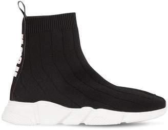 MSGM Logo Cotton Knit Slip-On Sneakers