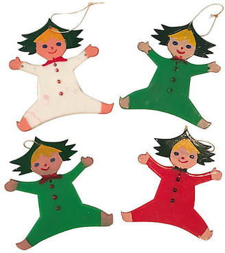 One Kings Lane Vintage 1960s Christmas Tree Pixie Ornaments Set of 4