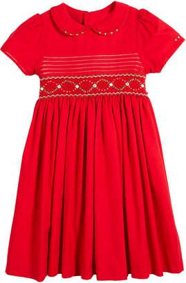 Luli & Me Peter Pan-Collar Smocked Bishop Dress, Size 5-6X