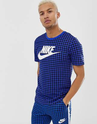 Nike T-Shirt With Gingham Check In Blue BQ1191-480