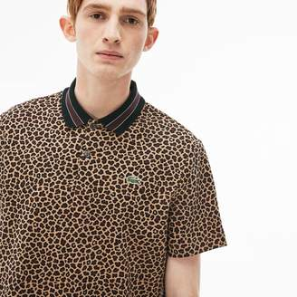 Lacoste Men's LIVE Regular Fit Leopard Print Interlock Polo