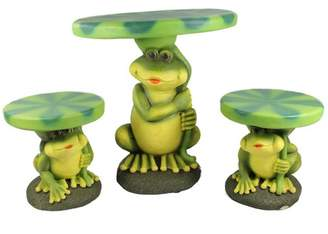 """Four Seasons 3pc Frog with Lily Pad Table and Chair Outdoor Garden Patio Furniture Set 27"""" - Green"""
