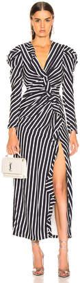 Jonathan Simkhai Multimedia Stripe Ruffle Slit Dress