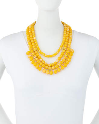 Lydell NYC Multi-Row Beaded Statement Necklace w/ Dangles, Yellow