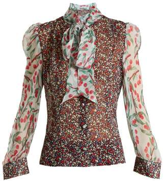 409685d4b9d COM · EDELTRUD HOFMANN Pussybow contrast-panel floral-print silk blouse