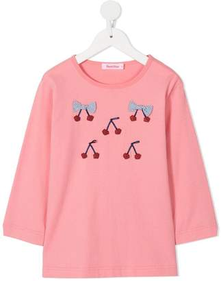 Familiar cherry bow embroidered top