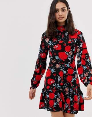 Parisian high neck floral print dress