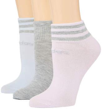 adidas Core 3 Stripe 3 Pair Low Cut Socks - Womens