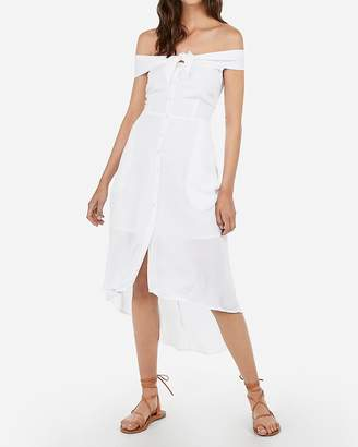 Express Off The Shoulder Tie Front Midi Dress