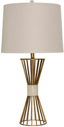Stylecraft Style Craft 33.5In Gold Leaf White Marble Table Lamp