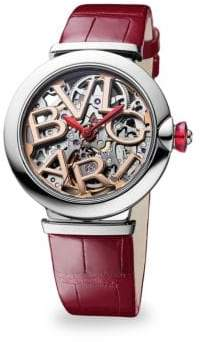 Bvlgari Lucea Stainless Steel& Alligator Strap Skeletonized Watch