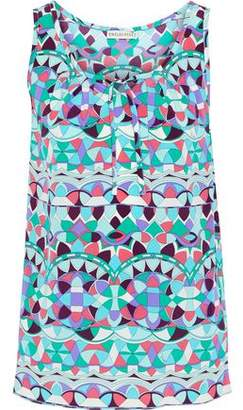 Emilio Pucci Bow-detailed Printed Silk Crepe De Chine Tank