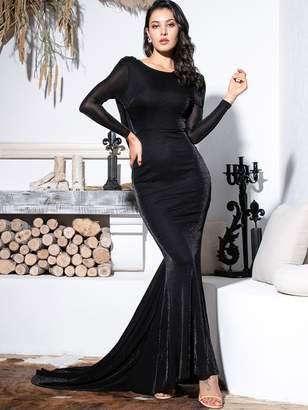 Shein LOVE&LEMONADE Backless Draped Glitter Floor Length Dress
