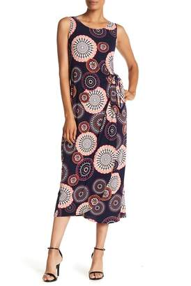 Robbie Bee Sleeveless Side Tie Print Midi Dress