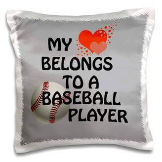 3dRose My heart belongs to a baseball player. Love relationship popular saying - Pillow Case, 16 by 16-inch