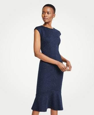 Ann Taylor Speckled Ponte Flounce Sheath Dress