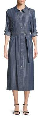 T Tahari Millie Striped Midi Shirtdress