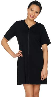 8fd58e8f09269 Beach French Terry Zip Front Cover Up Dress