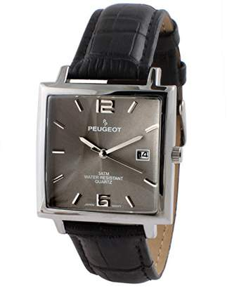Peugeot Men's 'Modern Rectangular' Quartz Metal and Leather Casual Watch