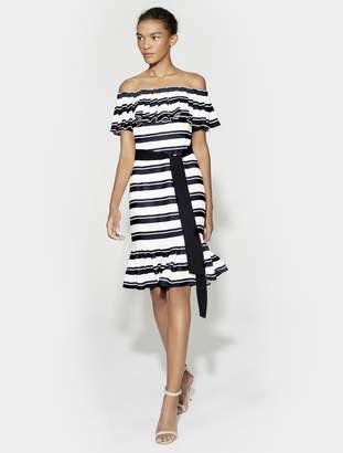 Halston Off Shoulder Striped Dress