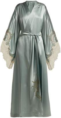 Carine Gilson Lace-trimmed silk kimono robe