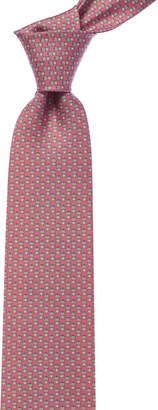 Salvatore Ferragamo Pink Frog Silk Tie