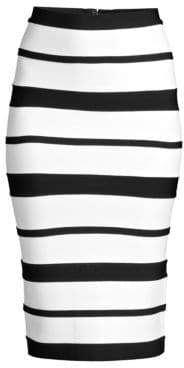Herve Leger Women's Striped Bandage Pencil Skirt - Alabaster Black - Size Large
