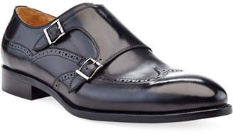 Ike Behar Men's Double-Monk Strap Leather Loafers