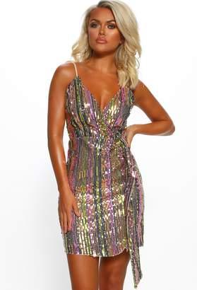 Pink Boutique Popping Bottles Multi Stripe Sequin Wrap Front Mini Dress