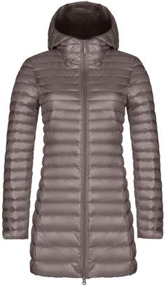 Yeokou Women's Packable Lightweight Quilted Long Hoodie Down Puffer Jacket Coat