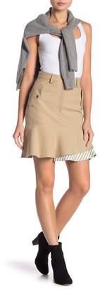 Nicole Miller Khaki Contrast Stripe Hem Skirt