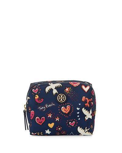 Tory Burch Tory Burch Brigitte Printed Nylon Cosmetics Bag, Navy/Multi