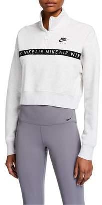 Nike Half-Zip Long-Sleeve Logo Crop Top