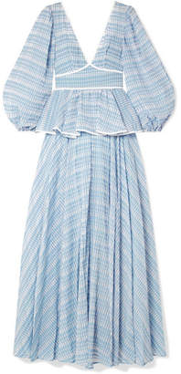 STAUD Panarea Checked Organza Maxi Dress - Sky blue