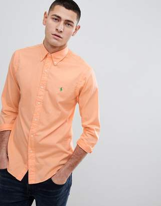 Polo Ralph Lauren Slim Fit Garment Dyed Shirt Polo Player In Orange