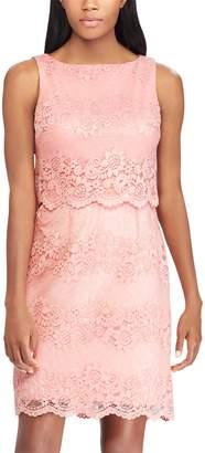 Chaps Women's Scalloped Lace Sheath Dress
