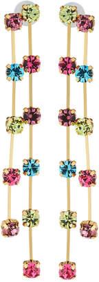 Kenneth Jay Lane Double Drop Earrings w/ Multicolor Crystals