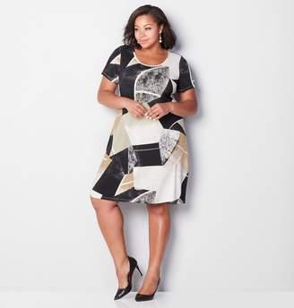 Avenue Neutral Geo Sheath Dress