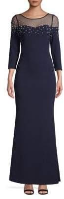 Karl Lagerfeld Paris Long-Sleeve Faux-Pearl Embellished Gown