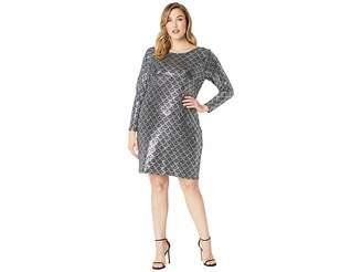 MICHAEL Michael Kors Size Glitter Long Sleeve Cowl Back Dress