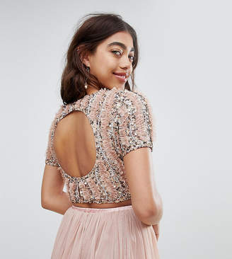 Lace and Beads Lace & Beads cropped top with ruffle embellishment and open back two-piece