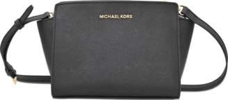 Selma Medium Messenger with Ruffles Bag in Black Saffia Leather Michael Michael Kors ZuCDjFSj1q