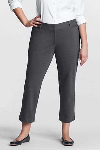 Lands' End Women's Plus Size Fit 2 Ponté Crop Pants