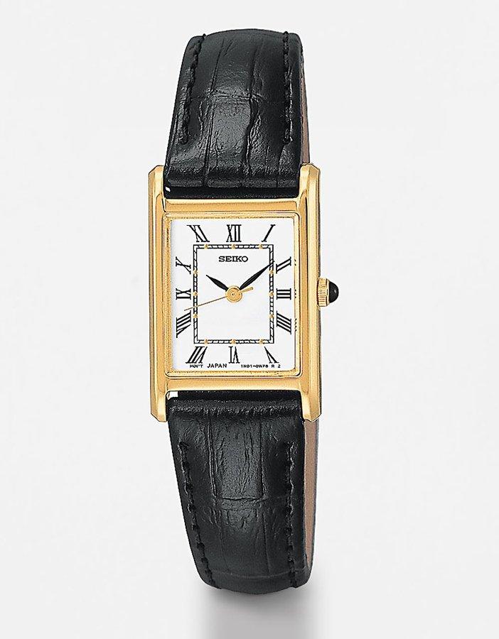 Women's Rectangular-Dial Black Leather Watch
