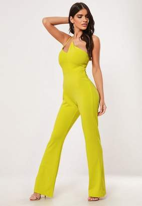 Missguided Lime One Shoulder Strap Cut Out Romper