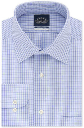 Eagle Men Big & Tall Classic/Regular Fit Non-Iron Flex Collar Blue Check Dress Shirt