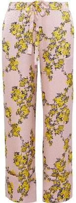 Baum und Pferdgarten Niral Floral-Print Hammered Silk-Jacquard Wide-Leg Pants