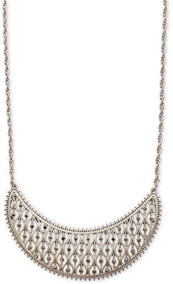 "Lucky Brand Silver-Tone Pave Openwork Statement Necklace, 18"" + 2"" extender"