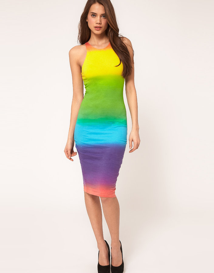 Motel Midi Dress Cut Out Racer Back in Rainbow Fade