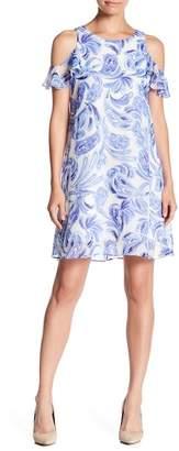 Eliza J Cold Shoulder Flounce Sleeve Dress